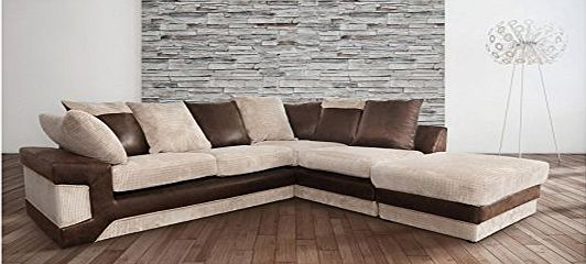 Abakus Direct Dino Corner Sofa In Brown amp; Beige With a Large Footstool [Brown Right]